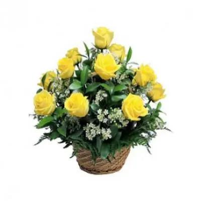 Yellow Roses Basket