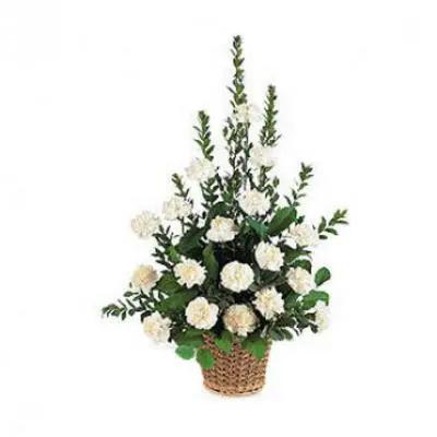 White Carnation Basket