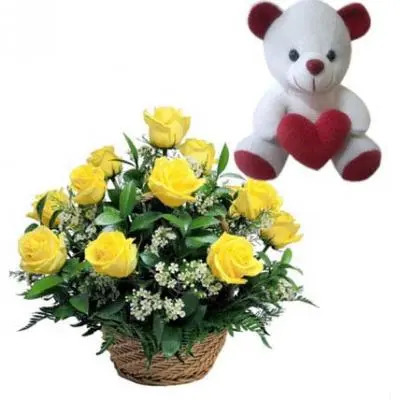 Teddy With Roses Basket