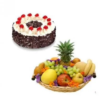 Fresh Fruits Basket With Cake