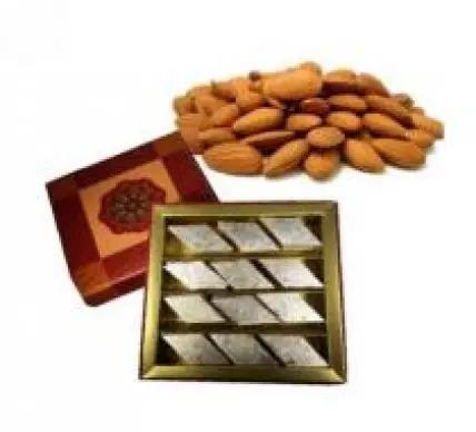 Kaju Burfi With Almonds