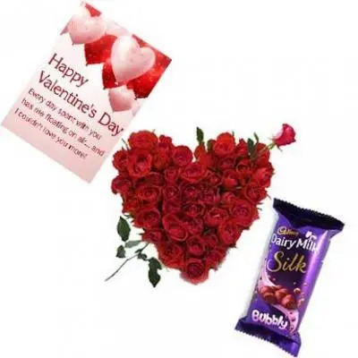 Roses Heart, Chocolates With Valentine Card