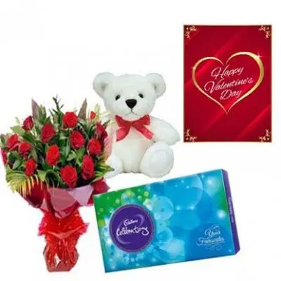 Valentine Teddy and Roses Combo