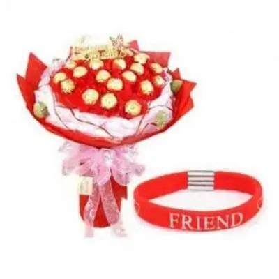 Friendship Day Band With 16 Pcs Ferrero Rocher Bouquet
