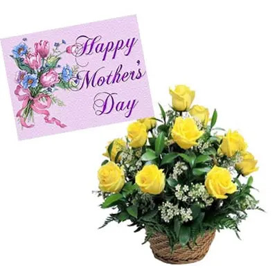 Yellow Roses Basket With Mothers Day Card