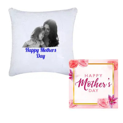 Personalized Mom Photo Cushion & Greeting Card