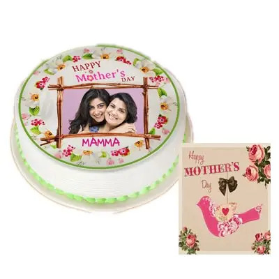 Mom Photo Cake With Mothers Day Card