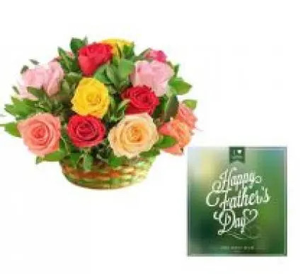 Mixed Roses Basket & Fathers Day Card