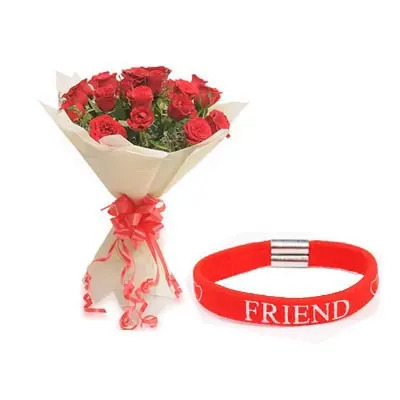 Red Roses with Friendship Band