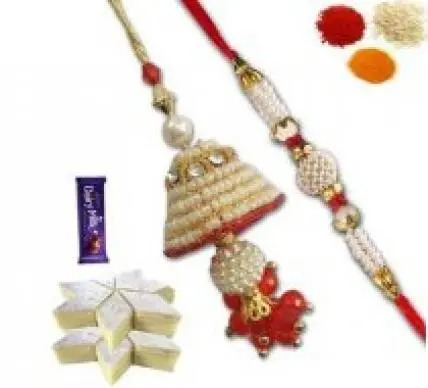 Bhaiya Bhabhi Rakhi Set with Kaju Katli and Chocolate